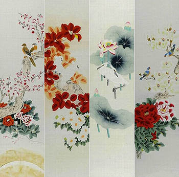 Chinese Four Screens of Flowers and Birds Painting,35cm x 136cm,2527037-x