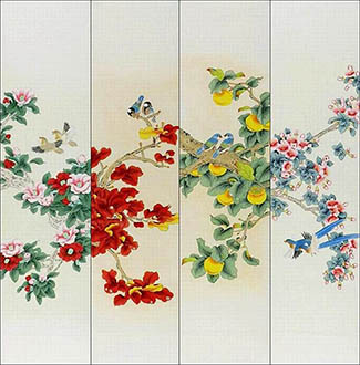 Chinese Four Screens of Flowers and Birds Painting,35cm x 136cm,2527038-x