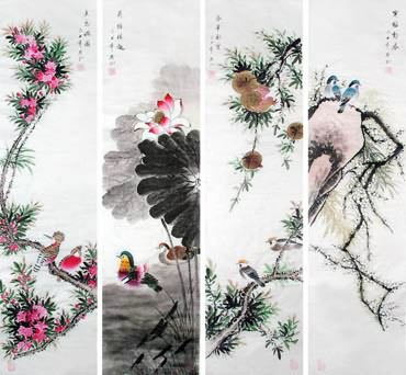Chinese Four Screens of Flowers and Birds Painting,34cm x 138cm,2567003-x