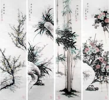 Chinese Four Screens of Flowers and Birds Painting,34cm x 138cm,2567004-x