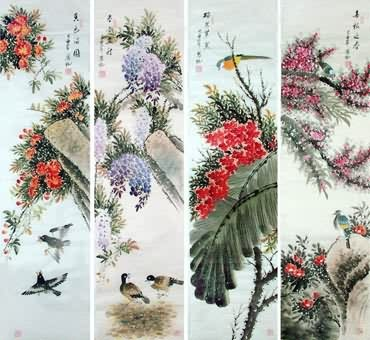 Chinese Four Screens of Flowers and Birds Painting,34cm x 138cm,2567005-x
