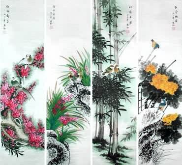 Chinese Four Screens of Flowers and Birds Painting,34cm x 138cm,2567006-x