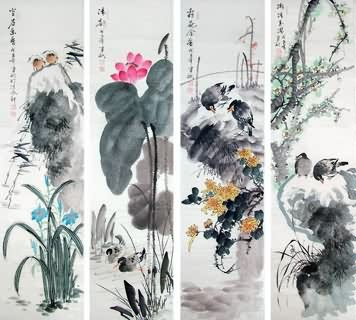 Chinese Four Screens of Flowers and Birds Painting,34cm x 138cm,2568004-x