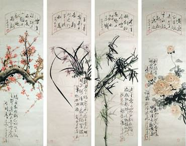 Chinese Four Screens of Flowers and Birds Painting,30cm x 100cm,2568005-x