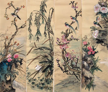 Chinese Four Screens of Flowers and Birds Painting,34cm x 120cm,2581012-x