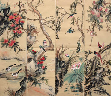 Chinese Four Screens of Flowers and Birds Painting,34cm x 120cm,2581013-x