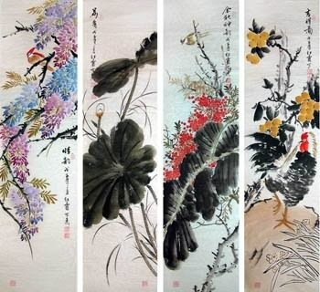 Chinese Four Screens of Flowers and Birds Painting,35cm x 136cm,2600002-x