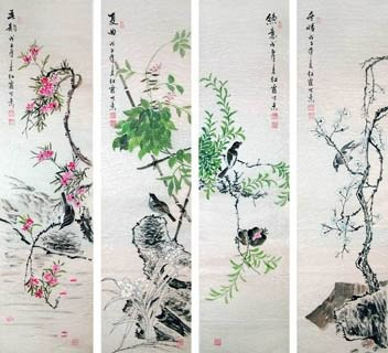 Chinese Four Screens of Flowers and Birds Painting,35cm x 136cm,2600003-x