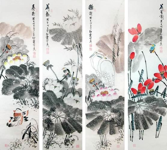 Four Screens of Flowers and Birds,34cm x 138cm(13〃 x 54〃),2600014-z