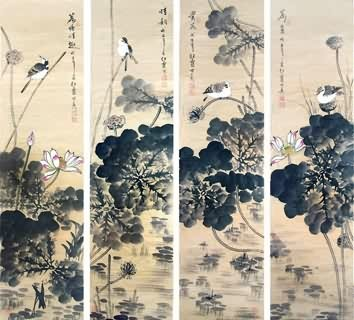 Chinese Four Screens of Flowers and Birds Painting,34cm x 138cm,2600016-x