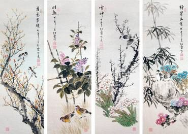Chinese Four Screens of Flowers and Birds Painting,33cm x 110cm,2600019-x