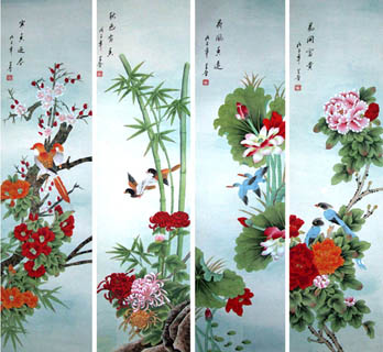 Chinese Four Screens of Flowers and Birds Painting,33cm x 130cm,2617063-x