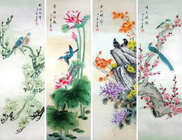 Chinese Four Screens of Flowers and Birds Painting,33cm x 130cm,2617064-x