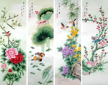 Chinese Four Screens of Flowers and Birds Painting,33cm x 130cm,2617065-x