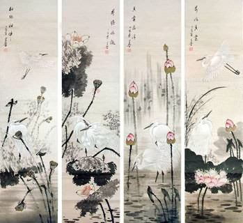 Chinese Four Screens of Flowers and Birds Painting,33cm x 130cm,2617066-x