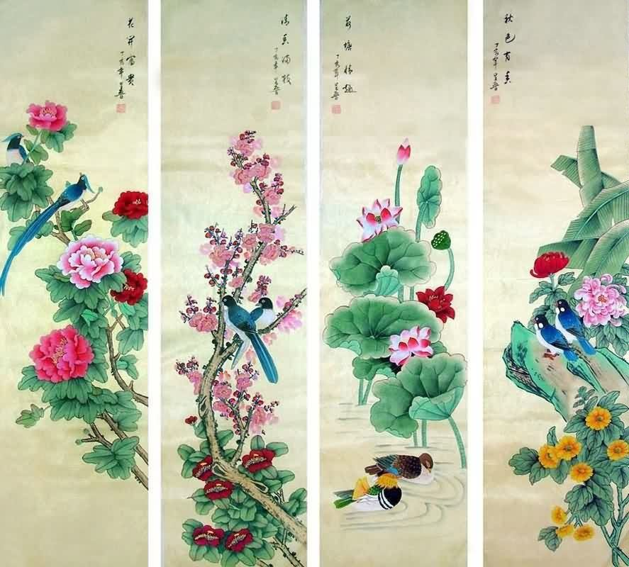 Four Screens Of Flowers And Birds 32cm X 120cm 13 47