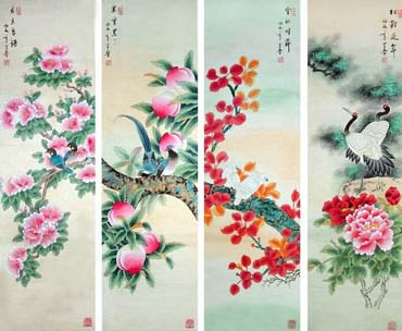 Chinese Four Screens of Flowers and Birds Painting,33cm x 130cm,2617068-x