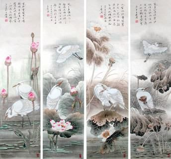 Chinese Four Screens of Flowers and Birds Painting,34cm x 138cm,2617069-x
