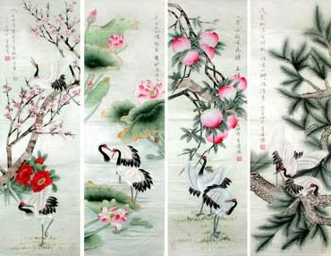 Chinese Four Screens of Flowers and Birds Painting,33cm x 110cm,2617070-x