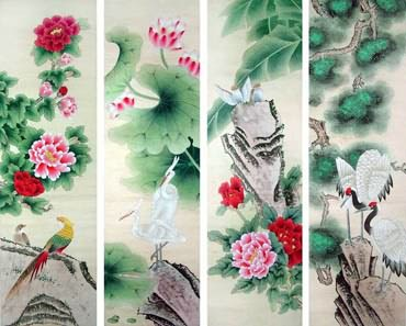 Chinese Four Screens of Flowers and Birds Painting,32cm x 120cm,2617072-x