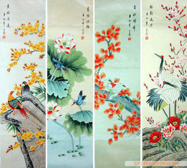 Chinese Four Screens of Flowers and Birds Painting,33cm x 130cm,2617073-x