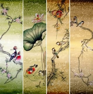 Chinese Four Screens of Flowers and Birds Painting,34cm x 138cm,2670003-x