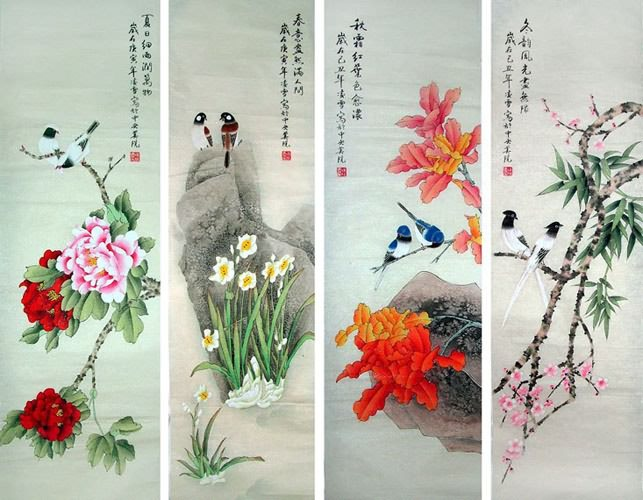 Four Screens of Flowers and Birds,40cm x 130cm(16〃 x 51〃),2702001-z