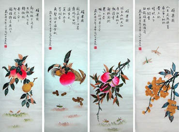 Chinese Four Screens of Flowers and Birds Painting,30cm x 110cm,2702025-x