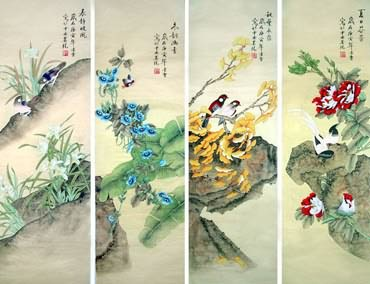 Chinese Four Screens of Flowers and Birds Painting,33cm x 110cm,2702035-x