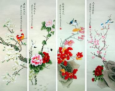 Chinese Four Screens of Flowers and Birds Painting,33cm x 110cm,2702036-x