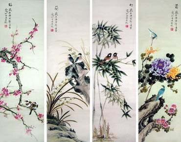 Chinese Four Screens of Flowers and Birds Painting,33cm x 110cm,2702037-x