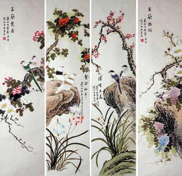 Chinese Four Screens of Flowers and Birds Painting,33cm x 110cm,2702038-x