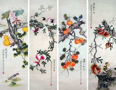 Chinese Four Screens of Flowers and Birds Painting,33cm x 110cm,2702039-x