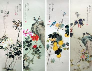 Chinese Four Screens of Flowers and Birds Painting,33cm x 110cm,2702040-x