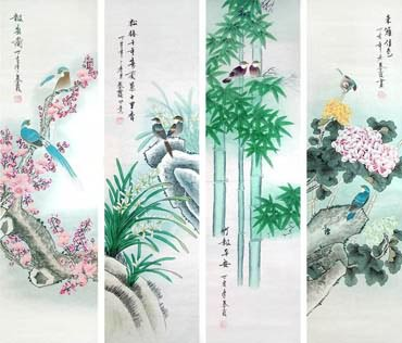 Chinese Four Screens of Flowers and Birds Painting,34cm x 138cm,2703079-x