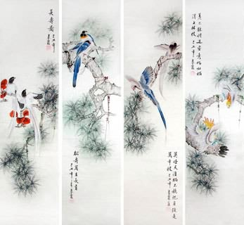 Chinese Four Screens of Flowers and Birds Painting,33cm x 130cm,2703081-x