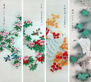 Chinese Four Screens of Flowers and Birds Painting,33cm x 130cm,2703082-x