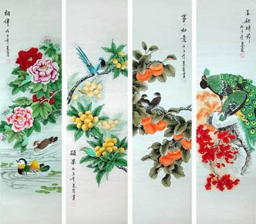 Chinese Four Screens of Flowers and Birds Painting,33cm x 130cm,2703083-x