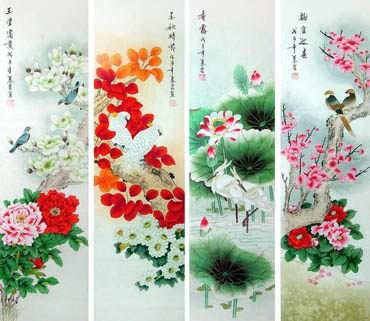 Chinese Four Screens of Flowers and Birds Painting,34cm x 138cm,2703084-x