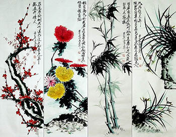 Chinese Four Screens of Flowers and Birds Painting,33cm x 102cm,dq21158004-x