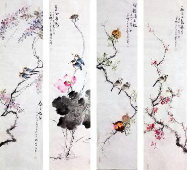 Chinese Four Screens of Flowers and Birds Painting,34cm x 138cm,dyc21099058-x