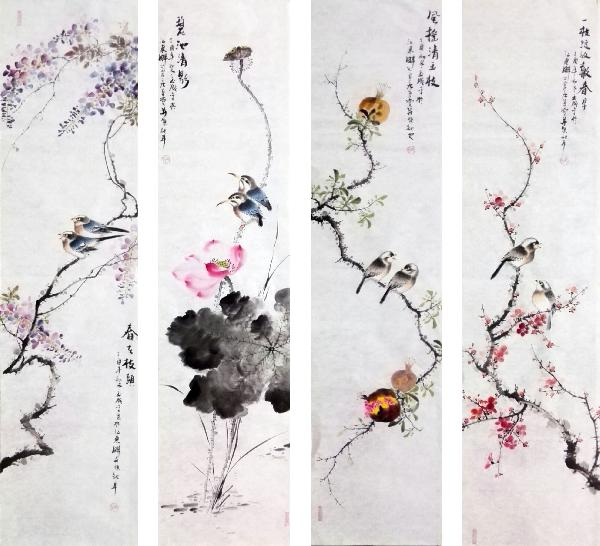 Four Screens of Flowers and Birds,34cm x 138cm(13〃 x 54〃),dyc21099058-z