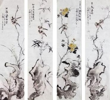 Chinese Four Screens of Flowers and Birds Painting,34cm x 138cm,dyc21099059-x