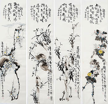 Chinese Four Screens of Flowers and Birds Painting,35cm x 136cm,sl21145003-x