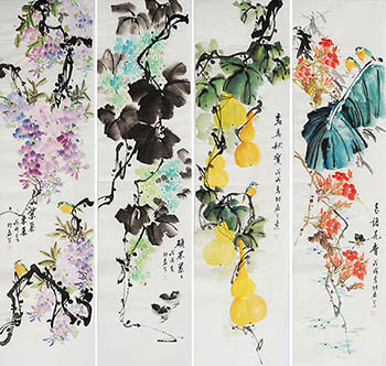 Chinese Four Screens of Flowers and Birds Painting,35cm x 136cm,sl21145004-x