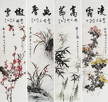 Chinese Four Screens of Flowers and Birds Painting,35cm x 136cm,sl21145005-x