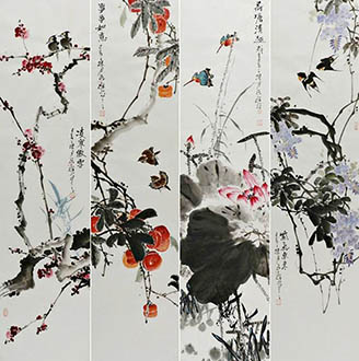 Chinese Four Screens of Flowers and Birds Painting,33cm x 130cm,syq21141024-x