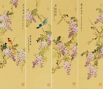 Chinese Four Screens of Flowers and Birds Painting,32cm x 120cm,xm21184012-x