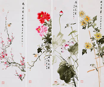 Chinese Four Screens of Flowers and Birds Painting,34cm x 120cm,xm21184013-x
