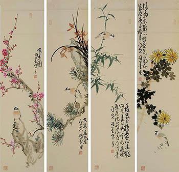 Chinese Four Screens of Flowers and Birds Painting,35cm x 136cm,xm21184014-x